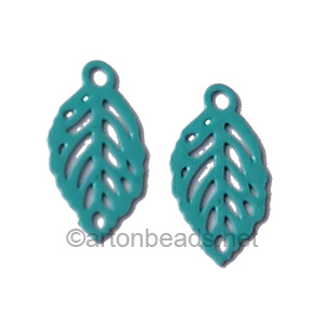 Filigree Stamping Charms-Leaf-Turquoise-11x6mm-20 pcs