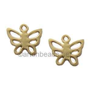 Filigree Stamping Charms-Butterfly-18K Gold Plated-7mm-20pcs