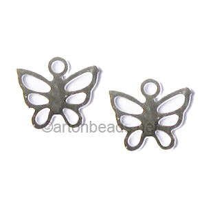 Filigree Stamping Charms-Butterfly-925 Silver Plated-7mm-20pcs