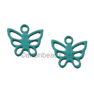 Filigree Stamping Charms-Butterfly-Turquoise-7mm-20pcs