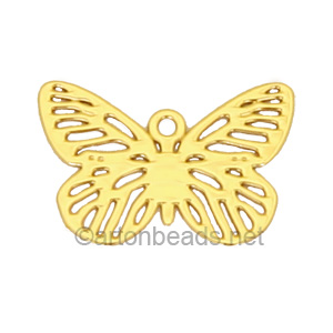 Filigree Stamping Charms-Butterfly-18K Gold Plated-10X15mm-10pcs