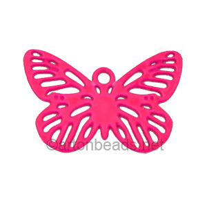 Filigree Stamping Charms-Butterfly-Fuchsia-10X15mm-10pcs
