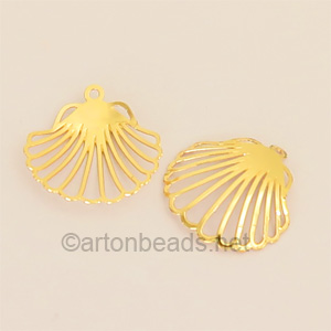 Filigree Stamping Charms-Shell-18K Gold Plated-21mm-6 pcs
