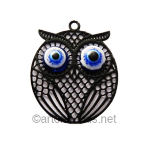 Filigree Stamping Charms - Owl - Black - 21x17mm - 4 pcs