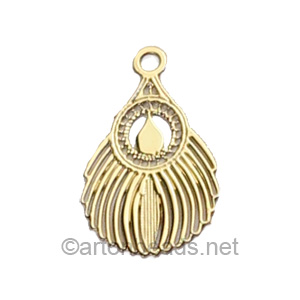 Filigree Stamping Charms-Feathers-18K Gold Plated-16x10mm-15 pcs
