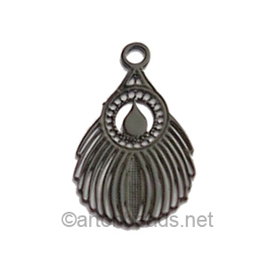 Filigree Stamping Charms-Feathers-Pure Black-16x10mm-15 pcs