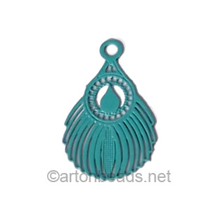 Filigree Stamping Charms-Feathers-Turquoise-16x10mm-15 pcs