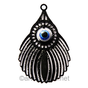 Filigree Stamping Charms - Feathers - Black - 30x19mm - 4 pcs