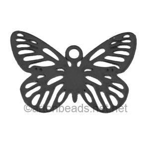Filigree Stamping Charms-Butterfly-Pure Black-10X15mm-10pcs