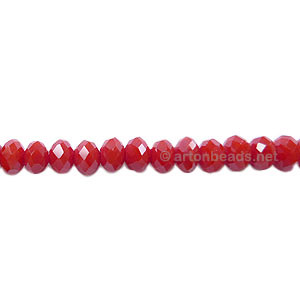 Dark Red Coral - 3x4mm Chinese Machine Cut Crystal A+