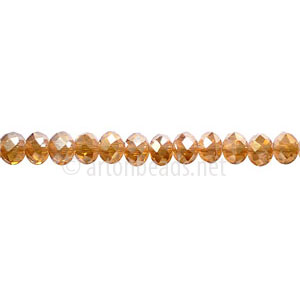 Crystal Amber Shadow - 3x4mm Chinese Machine Cut Crystal A+