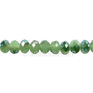 Green Iris+Light Jade Green Opal - 4x6mm Machine Cut Crystal A+
