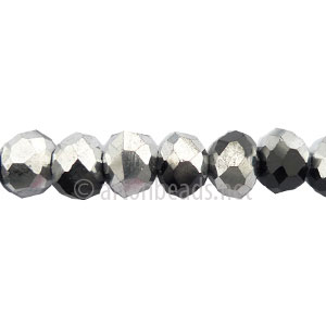 *Black + Silver - 6x8mm Chinese Machine Cut Crystal A+