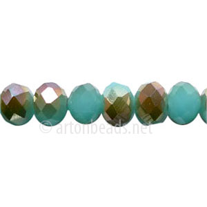 Light Bronze+Light Turquoise Opal - 6x8mm Machine Cut Crystal A