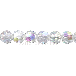 Chinese Crystal Bead - Faceted Round - Crystal AB - 6mm