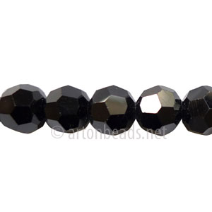 Chinese Crystal Bead - Faceted Round - Jet - 8mm
