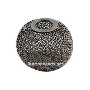 Mesh Beads - Gun Metal Plated - 20mm