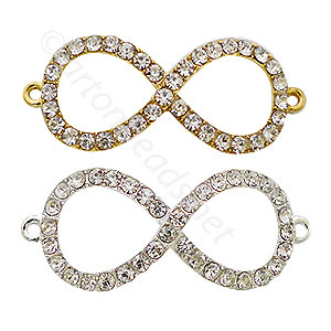Shamballa Infinite With Crystal - 43x18mm - 3pcs