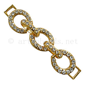 Chain Link With Crystal - 18k Gold Plated - 77x16mm - 2pcs