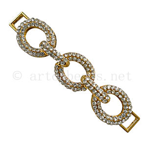Chain Link With Crystal - 18k Gold Plated - 77x16mm - 1pc