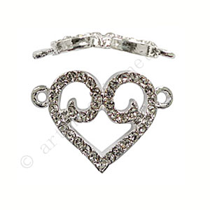Shamballa Heart With Crystal - 25x18mm - 2pcs