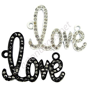 Shamballa Love With Crystal - 42.6x33mm - 2pcs