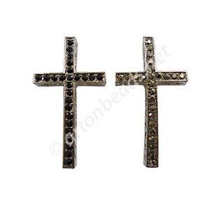 Shamballa Casting Cross With Crystal - 47mm - 2pcs