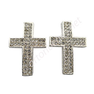 Shamballa Casting Cross With Crystal - 36.4x24.5mm - 2pcs