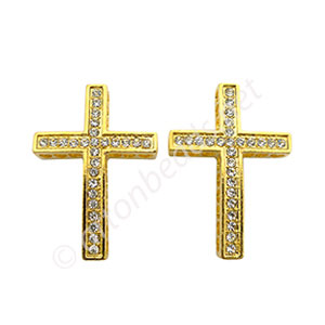 Shamballa Casting Cross With Crystal - 38x26.5mm - 2pcs