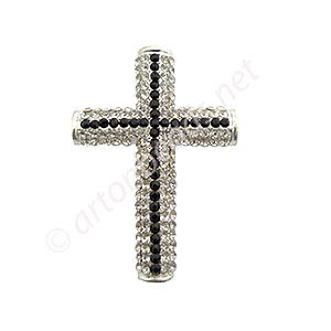 Shamballa Casting Cross With Crystsal - 49x34.5mm - 1pc