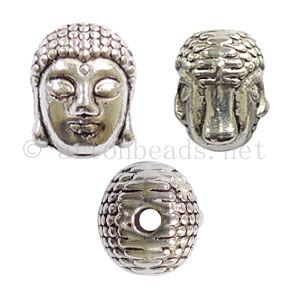 Buddha Head - Antique Silver Plated - 9.9x10.3mm - 10pcs - Click Image to Close