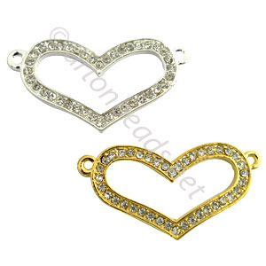 Shamballa Heart With Crystal - 36.5x19mm - 2pcs
