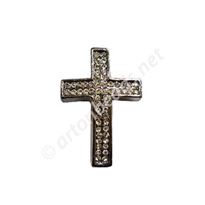 Shamballa Casting Cross With Crystal - 39mm - 2pcs