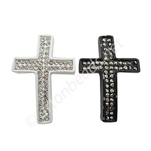 Shamballa Casting Cross With Crystal - 39.7x27mm - 2pcs