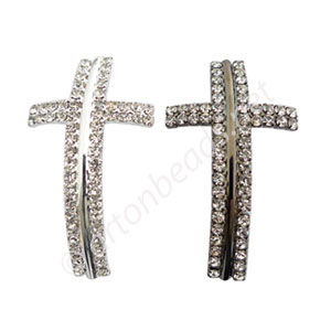 Shamballa Casting Cross With Crystal - 50x28mm - 2pcs