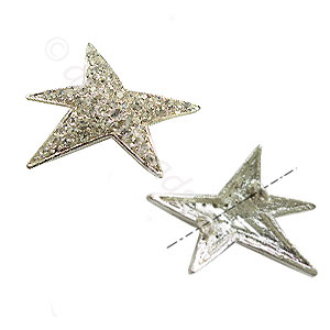 Shamballa Starfish With Crystal - 925 Silver Plated-28x25mm-2pcs