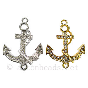 Shamballa Anchor With Crystal - 37x28mm - 3pcs