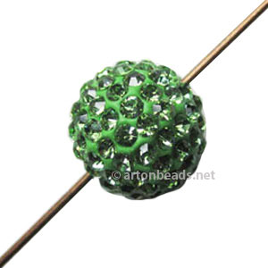 Shamballa Diamond Bead - Fimo Base - Peridot - 12mm