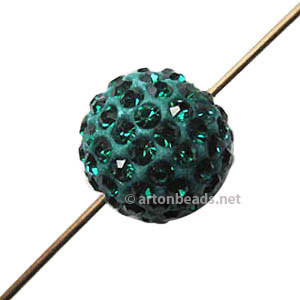 Shamballa Diamond Bead - Fimo Base - Emerald - 12mm