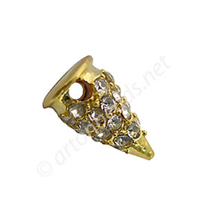 Spike With Crystal - 18k Gold Plated - 13x7.26mm - 6pcs
