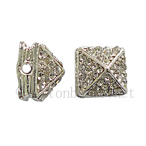 Spike With Crystal - 925 Silver Plated - 11x8.6mm - 4pcs