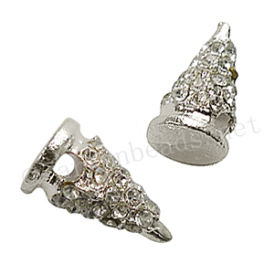 Spike With Crystal - 925 Silver Plated - 16.7x9mm - 4pcs