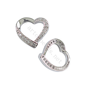 Micro-paved Cubic Zirconia Pendant - Heart - 17x18mm - 1pc