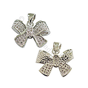 Micro-paved Cubic Zirconia Pendant - Bow - 13x17mm - 1pc