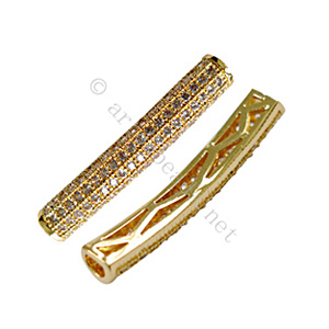 Micro-paved Cubic Zirconia Tube - Gold Plated - 29x5mm - 1pc