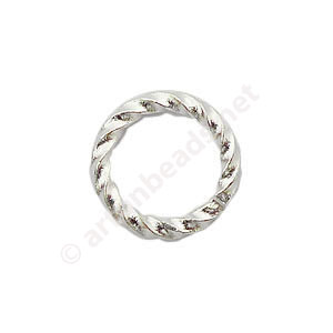 Twist Ring - 925 Silver Plated - 1.1x8mm - 50pcs