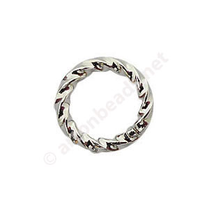 Twist Ring - White Gold Plated - 1.1x8mm - 100pcs