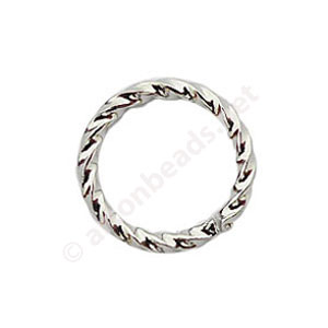 Twist Ring - White Gold Plated - 1.1x10mm - 50pcs