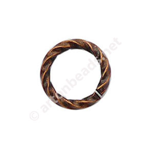 Twist Ring - Antique Copper Plated - 1.1x8mm - 40pcs