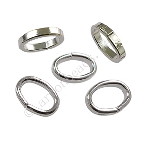 Oval Jump Ring - White Gold Plated - 7x10/2x1mm - 30pcs
